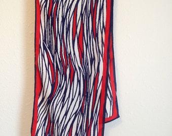 Vintage Vera Scarf, Vintage Vera Neumann, Red White Striped Vera Scarf