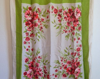 Vintage Cutter Tablecloth, Vintage Craft Tablecloth Fabric, Green and Pink Roses Fabric, Damaged Tablecloth, 48 x 46