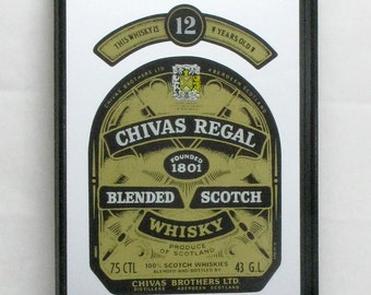 Mirror tray, Advertising tray, Chivers Regal Whisky tray, trays, Home Decor, Pub Tray, Drinks Tray, Wall Hanging
