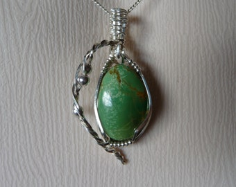 Green Turquoise and Sterling Silver Pendant