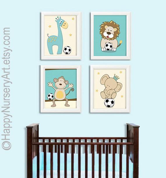 Sports animals print, soccer print, soccer art, safari animals Art, turquoise yellow, Modern Kids Wall Art, Nursery Decor, Kids Room Art