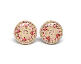Bohemian flower studs, flower post earrings, bohemian jewelry, eco friendly floral jewelry, wood jewelry, wood earrings