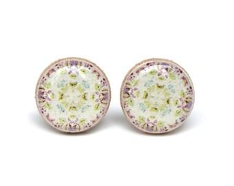 Bohemian purple flower studs, flower post earrings, bohemian jewelry, eco friendly floral jewelry, wood jewelry, wood earrings