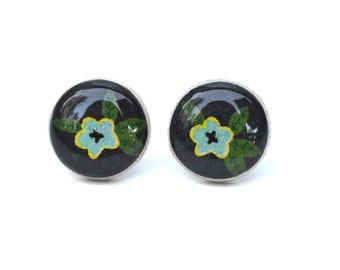 Black and Blue Flower Stud Earrings. Black Earrings. Black Stud Earrings. Flower Earrings. Flower Studs.  Wood Earrings. Starlight Woods