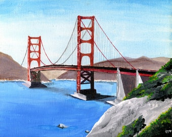 8 x 10 print of an acrylic painting of the Golden Gate Bridge