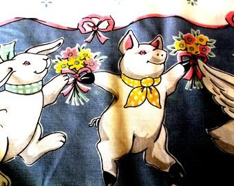 Pr flat Easter  sheets Twins Different Animals Bunnies Lambs Pigs etc Fieldcrest Plus 2 Pillow cases