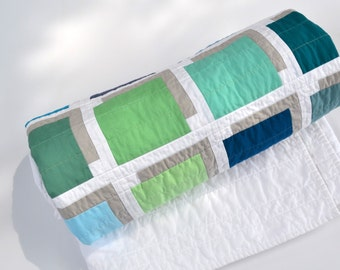Modern Quilt,  Geometric Quilt, Blue Lap Quilt, Contemporary Bedding, Cool Water,  Shadow Boxes, Wedding Quilt