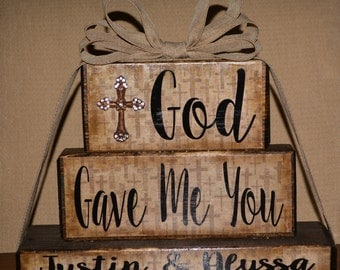 God Gave Me You Family Blocks-Dark Chocolate Family Blocks with Religious Cross Pattern