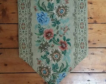 Vintage table runner tablecloth floral tapestry flowers country  cottage chic beige earthy linins traditionsl runners Dolly Topsy Etsy UK