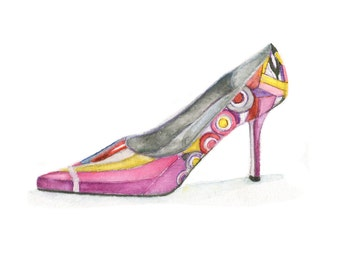 Watercolor Pucci Shoe, Pucci Shoe Print, Pucci Shoe