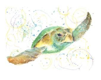 Watercolor Sea Turtle, Sea Turtle Print, Green Seat Turtle Print
