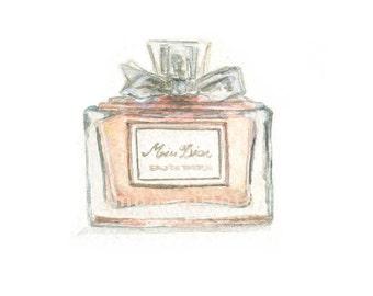 Watercolor Perfume Bottle, Miss Dior Perfume Print, Perfume Bottle Print