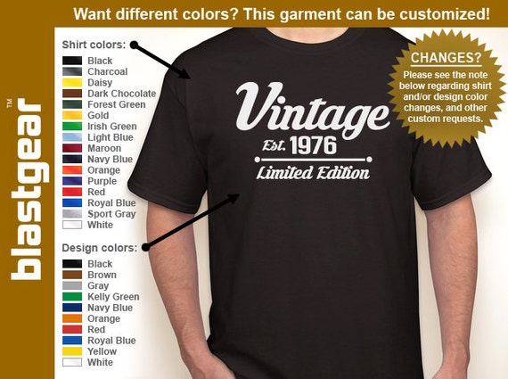 Vintage 1976 (or any year) Limited Edition 40th Birthday T-shirt — Any color/Any size - Adult S, M, L, XL, 2XL, 3XL, 4XL, 5XL