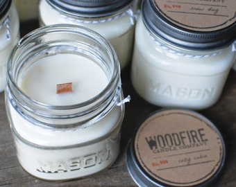 PICK YOUR SCENT Wood Wick Mason Jar Soy Candle Perfect Gift 8oz