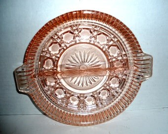 Pink Depression Glass Divided Condiment Plate - Vintage Relish Dish - Round Glass Serving Dish - Pink Cut Glass Serving Dish
