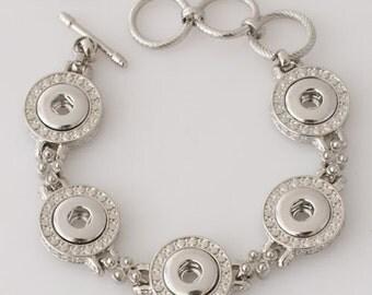 """1 Silver Bracelet - 6.75"""" - 8"""" Fits 12MM Candy Snap Charm KB0244 CJ0032"""