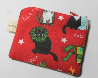 Coin purse, change purse, with cats, gift for cat lover