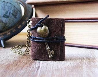 Book necklace jewelry miniature book leather hand stitched journal necklace rustic key pendant  small tiny sewn book eco friendly