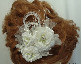 Three Rose Bridal Clip, Rose Fascinator, Bridal Headpiece, Bridal Hair Accessory, REX15-330
