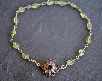PERIDOT wire wrapped DAINTY NECKLACE