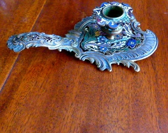 Antique French Champleve cloisonné Chamber stick