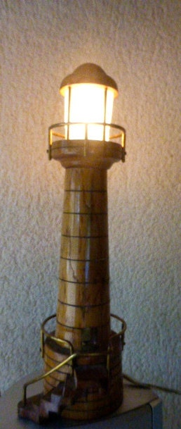 Vintage wooden lighthouse table lamp for Vintage wooden table lamps