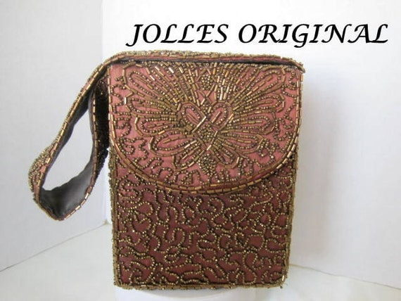 Gold Beaded Evening Purse -  Signed Jolles Original - Hand Beaded Bronze Bag