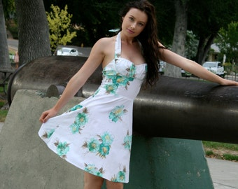 50's/60's Retro Fit and Flare Dress, Halter Dress, White Floral Dress, Juniors Small