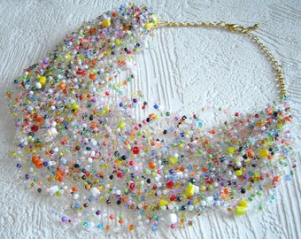 Mix colorful air necklace. Multistrand necklace. Beadwork necklace