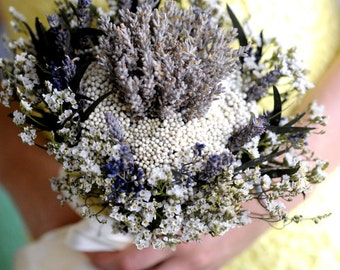 Organically Lavender Charm Wedding Bouquet - Bridal Bouquet - Bridesmaid Bouquet -with light blue-gray lavender with One FREE BOUTONIERE!!