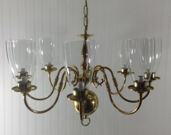 Vintage Solid Brass 8 Light Chandelier Glass Globes See Matching Sconces
