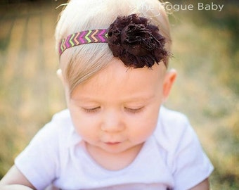 Fall Headband - Chevron - Brown Hot Pink Green - Back to School -   Baby Newborn Toddlers Girls Women