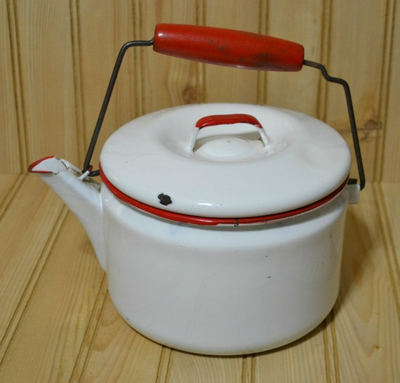 Vintage Red And White Enamel Coffee Tea Pot Kettle Wooden Red