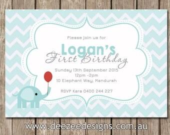 Chevron Elephant Birthday Invitation - You Print