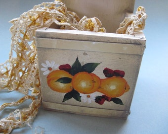 Vintage  Hanging Wood Storage Box with Painted Fruit
