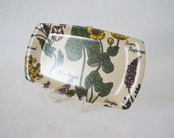 Small Vintage Pressed Fabric Tray with Wild Flowers