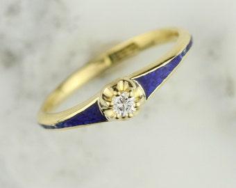 Antique Belcher Set Diamond Blue Guilloche Engagement Ring in 18k Yellow Gold