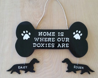 Long-Haired Doxie Wall/Door Sign-Home is Where My Doxies Are