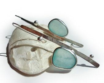 Sterling Silver Earrings. Sea glass Earrings. Ocean Green Genuine Sea Glass. Silver Long Earrings.100% Handmade Earrings.