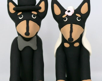 Doberman Pinscher Dog Wedding Cake Topper