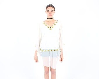 90s Indian Hippie Peasant Blouse / Floaty Mini Dress