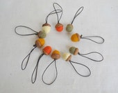 10 wool acorns on threads rustic  fall hostess gift needle felted ornaments Thanksgiving and Christmas Natural decor