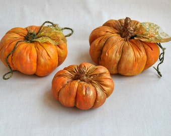 Thanksgiving decor pumpkins set of 3 rustic fall halloween and harvest decor Autumn primitive pumpkin bowl fillers