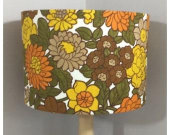 Lamp Shade Original Vintage 60s 70s Flowery Fabric