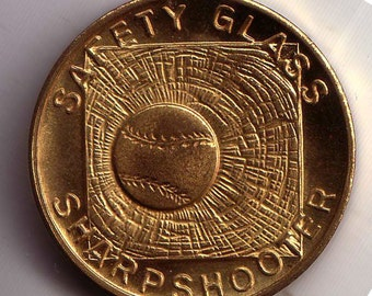 Brass in Pocket Sharpshooter Safety Glass Coin Token Good Luck Protection Carry This Coin and Be Lucky 1934 Chicago