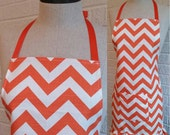Ruffled Orange Chevron Apron with Pocket - FREE Shipping, Can be Personalized, Orange and White ZigZag Stripe, Made in USA