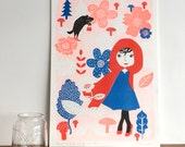 Girl in Blue and Red - A3 Art Poster - Art Print for a Little Princess - Illustration Kids Print - Original Riso Print