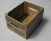 4 Reclaimed Wood Crates Primitive Folk Art Rustic Farmhouse Decor Storage Custom Finish Wooden Bins Box Natural