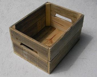 Reclaimed Wood Crate Primitive Folk Art Rustic Farmhouse Decor Storage Custom Finish Wooden Bin Box Natural