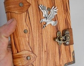 leather diary / handmade small leather notebook with Eagle emblem / Leather Sketchbook / Leather Diary / leather bound,steampunk journal